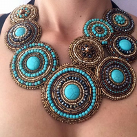 "Bead Embroidery Necklace - "" Eternity"""
