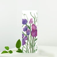 Sweet Pea Floral Bookmark