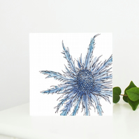 Sea Holly Floral Greetings Card