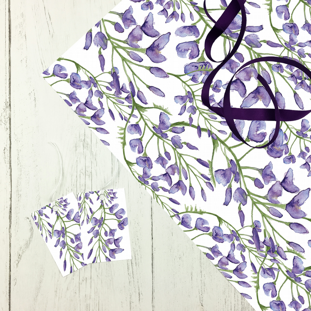 Wisteria Gift Wrap with optional Ribbon and Tags