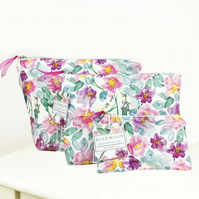 Peony wash bag set, including toiletry bag, makeup bag and coin purse