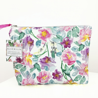 Peony print floral makeup bag, ideal Christmas gift for a flower or garden lover