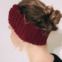 Red Knitted Wool Handmade Hairband for Women
