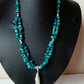 Teal blue apatite necklace with handmae chain pendant