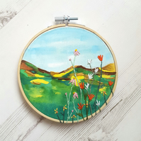 Wildflower and mountain landscape embroidery