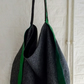 Wool and embroidered leather slouch bag Grey-Green