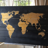 Large World Map Wooden Wall Art