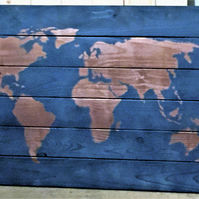 Large Wooden World Map Wall Art Copper and Grey