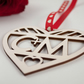 Laser Cut Love Heart Valentines Day Gift - INITIALS - Plywood