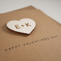 Valentine's Day Card with Personalised Engraved Wooden Love Heart Magnet