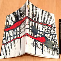 A5 Journal, screen printed and painted, saddle sewn binding