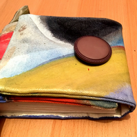 Canvas journal, mixed media, with vintage button closure, carry strap