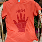 Silk screen hand printed t-shirt with original design - High Five! (Small size)