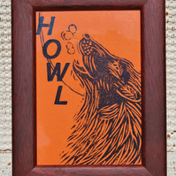 Original Design Lino & Letterpress Framed Print - ' HOWL'