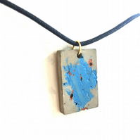 Rectangle polished concrete pendant necklace, blue and copper