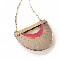 Clamshell etched acrylic necklace. Rose gold pink and raspberry pink with walnut