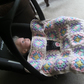 A New Hand Crochet, Granny Square, Car Seat Blanket - Covers up to 9 months.