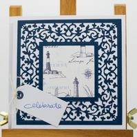 Handmade nautical greetings card 'Celebrate'