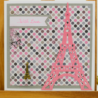 Handmade Eiffel Tower card 'With Love'