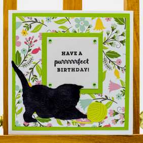 Handmade Birthday Card - 'Have a purrrrrfect Birthday!'