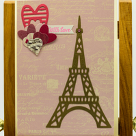 Handmade Greetings Card featuring Eiffel Tower - 'With Love'