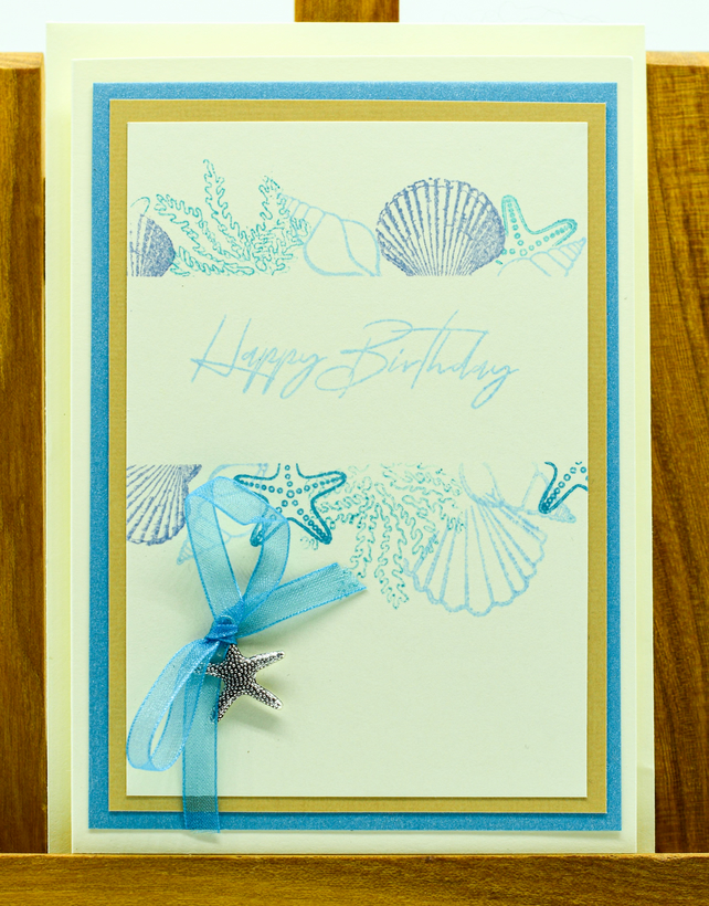 Handmade Birthday Card featuring a starfish charm