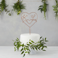 Double Heart Initials Wire Wedding Cake Topper