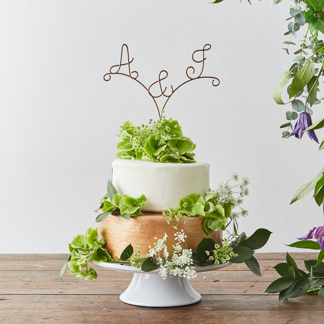 Arrow Personalised Initials Wire Wedding Cake Topper