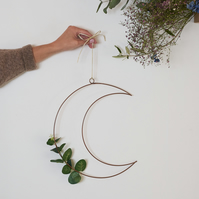 Wire Moon Wreath Frame with eucalyptus