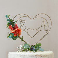 Burnt Orange Personalised Heart Wire Cake Topper