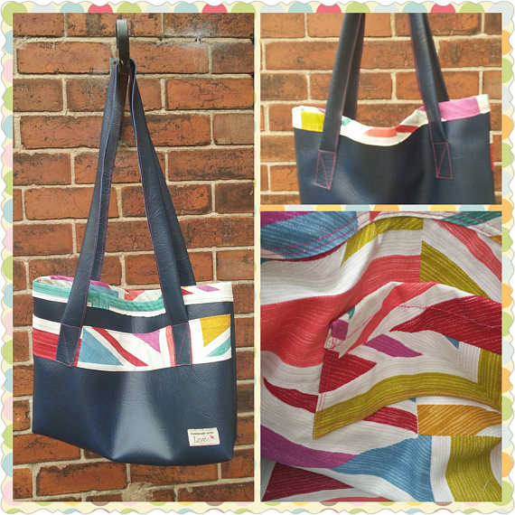 handmade blue leatherette bag with union jack print detailing
