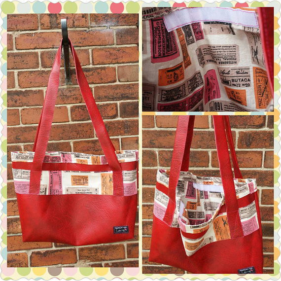 handmade red leatherette tote bag with vintage ticket stub lining