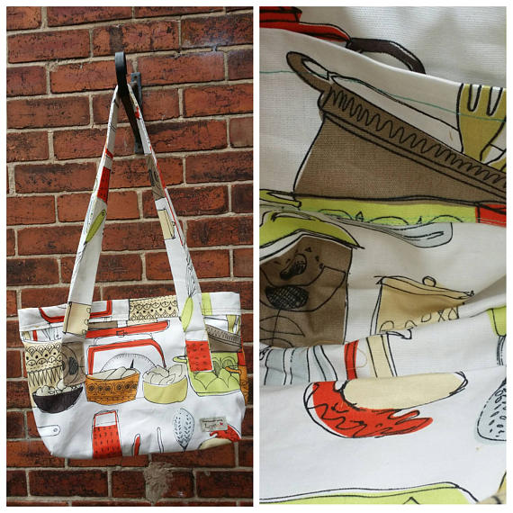 handmade tote with a retro cook book-cooking theme