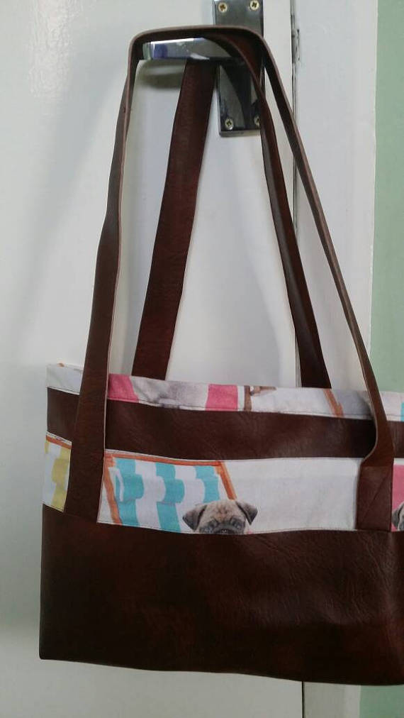 handmade brown leatherette tote bag with pug lining
