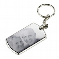 Engraved Personalised Photo Rectangle Keyring