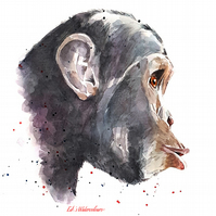 To be Free, to be a Chimpanzee - Watercolour Print A3 (30x40cm)