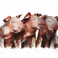 Three little Pigs -  Watercolour Print A3 (30x40cm)