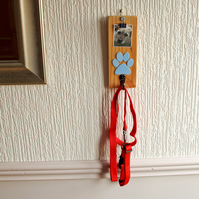 Up-cycled, wood, blue, male, dog, collar - lead, organizer, photo clip,