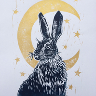 Moonlit Hare - Original Linocut - Gold Blue A3 page with A4 size print