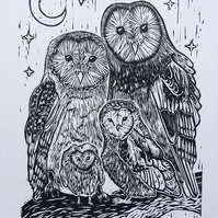 Barn Owl Family - Original Linocut - Gold Red A3 page with A4 size print