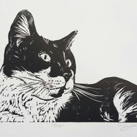 Ella the Cat - Original Linocut - Black Ink A4 page with A5 size print