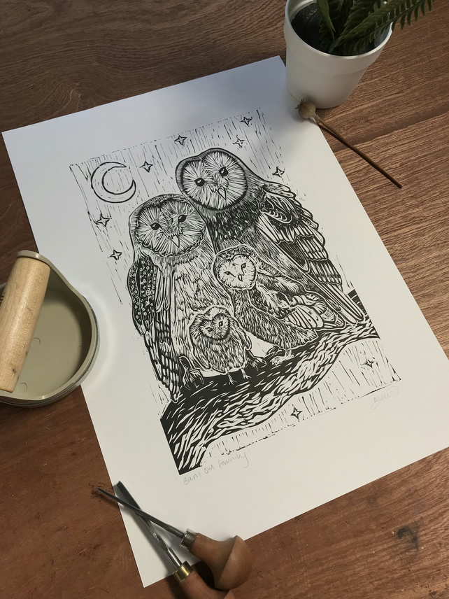 Owl Linoprint - Barn Owl Family - Handprinted, unframed, unmounted, open edition