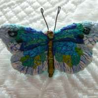 Hand embroidered Butterfly brooch with a hand painted box