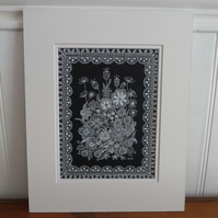 Original Artwork.  A pen and ink drawing of flowers and seed heads