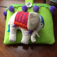 "ELLIE THE ELEPHANT. A  handmade and hand embroidered ""LITTLE FRIEND"" pocket pet"