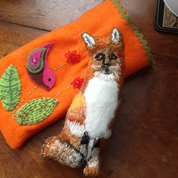 "Felicity Fox A hand sewn and hand embroidered ""LITTLE FRIEND""  pocket pet"