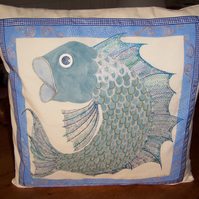 FISH Hand Painted and Embroidered cushion cover
