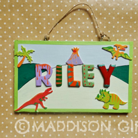Dinosaur Jurassic Bedroom Door Name Plaque Personalised Kids Gift