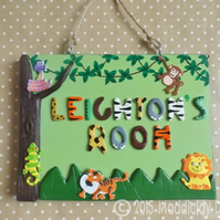 Jungle Safari Animal Bedroom Door Name Plaque Personalised Kids Gift