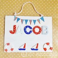 Nautical Bedroom Door Name Plaque Personalised Kids Gift
